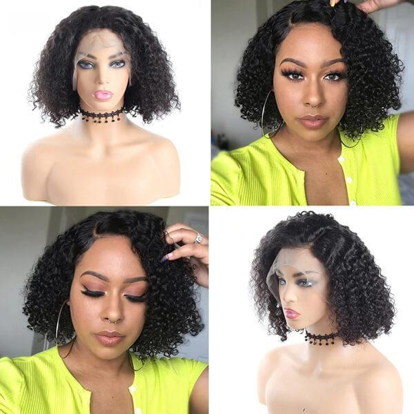 Jerry Curly Hair Short Bob Wigs 13*4 Lace Front Human Hair Wigs