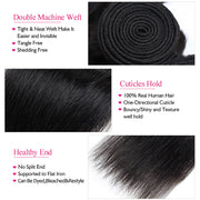Virgin Brazilian Straight Hair 3 Bundles with 13*4 Lace Frontal One More Hair - OneMoreHair