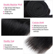 brazilian straight hair 3 bundles with closure