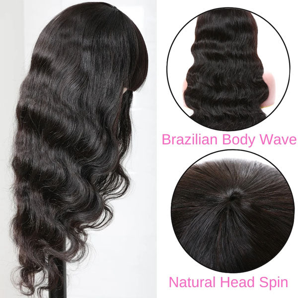 Body Wave Hair Machine Made Wig Glueless Wig With Bangs