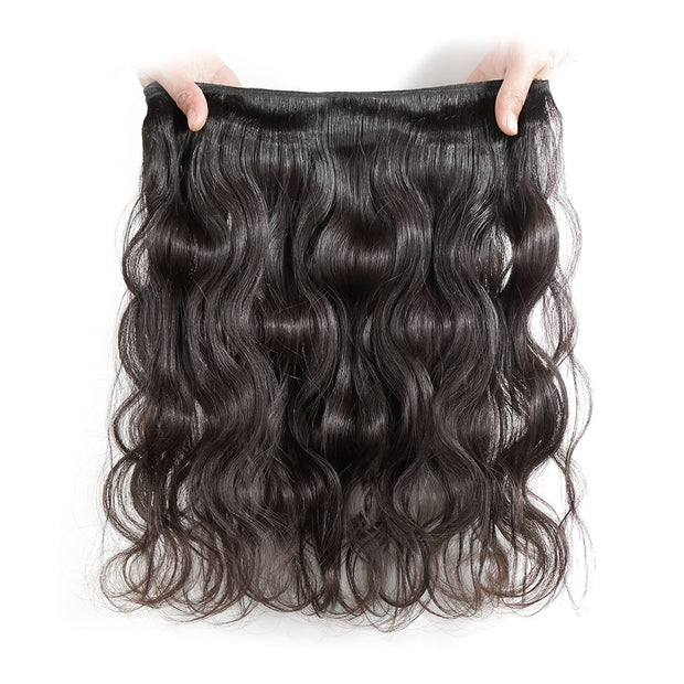 Indian body wave hair 3 bundles with closure