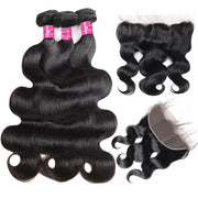 Virgin Indian Body Wave Hair 3 Bundles with 13*4 Lace Frontal