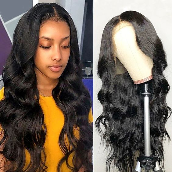human hair body wave wig