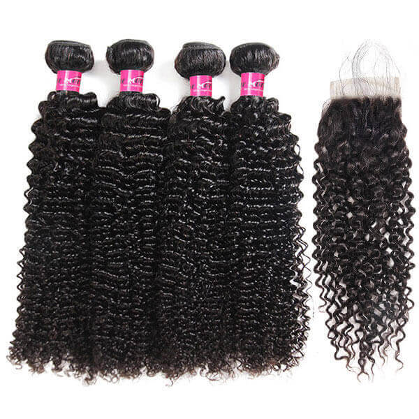 Virgin Malaysian Curly Human Hair 4 Bundles with 4*4 Lace Closure