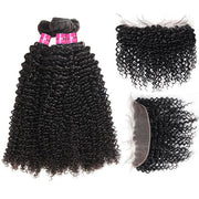 Malaysian Curly Hair 3 Bundles with 13*4 Lace Frontal One More Hair