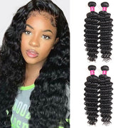 One More Peruvian Water Wave Hair 3 Bundles with 13*4 Lace Frontal - OneMoreHair