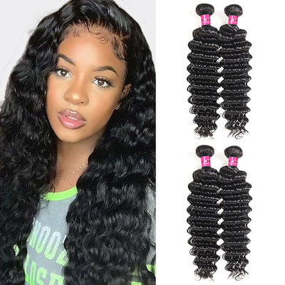Water Wave Hair 3 Bundles with 13*4 Lace Frontal