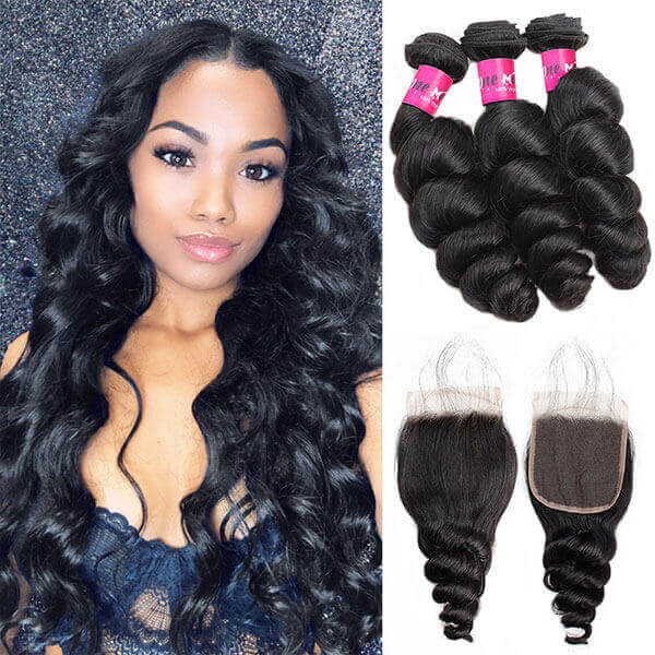 peruvian loose wave 3 bundles with 4*4 closure