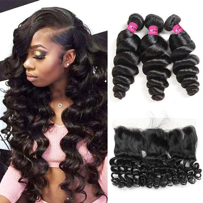 Virgin Hair Brazilian Loose Wave Human Hair 3 Bundles with 13*4 Lace Frontal - OneMoreHair