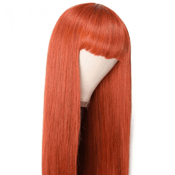 Ginger Color Straight Hair Machine Made Wig Glueless Wig For Black Women
