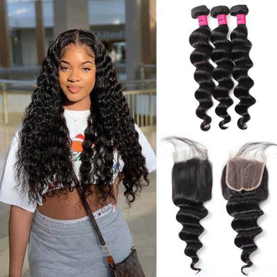 loose deep wave hair 3 bundles with closure