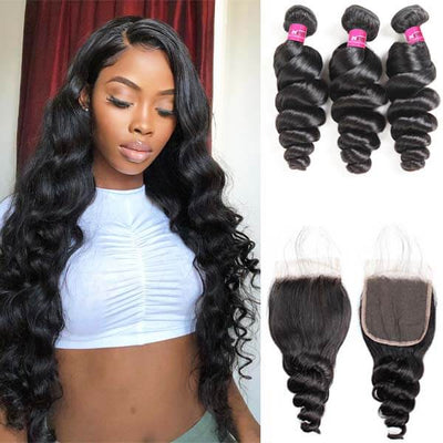 brazilian hair loose wave bundles with closure