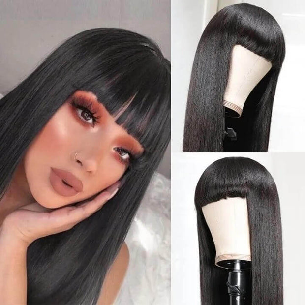 New Arrival Straight Hair Machine Made Wig 100% Human Hair Wig with Bangs