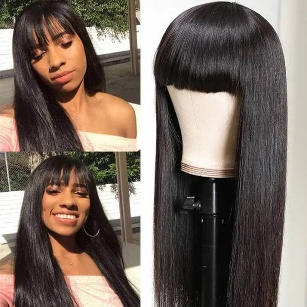 Human Hair Wig with Bangs