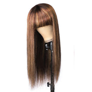machine made wig with bangs