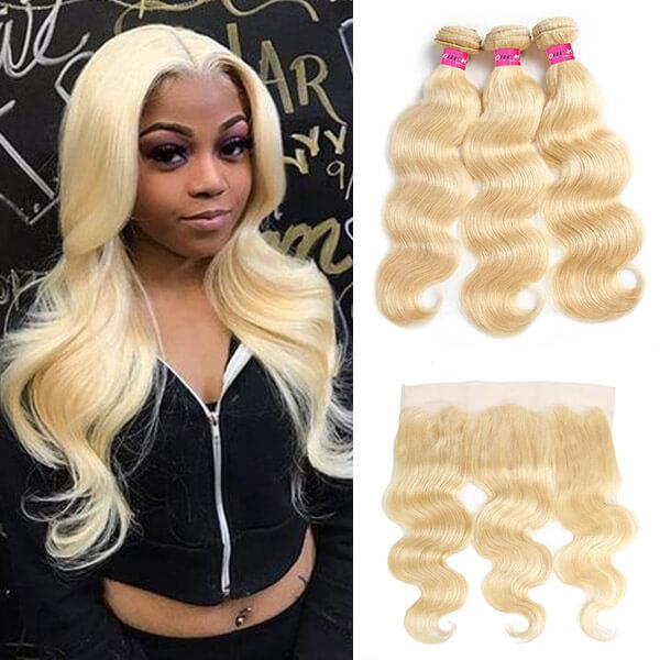 Pure 613 Body Wave Hair 3 Bundles With 13*4 Lace Frontal