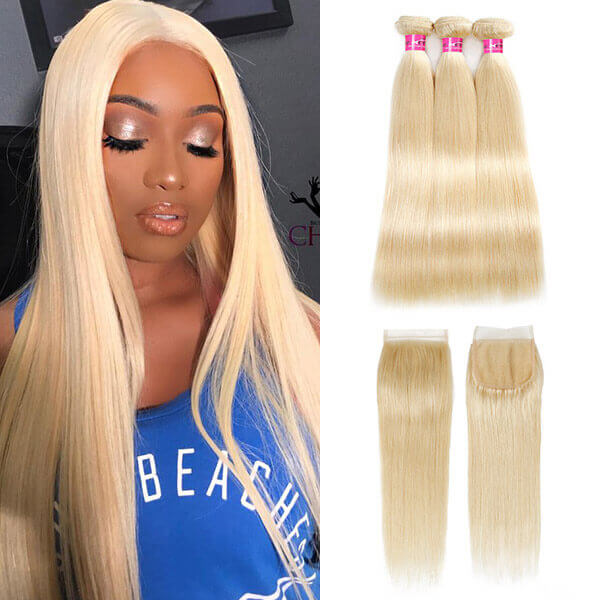 One More 613 Blonde Color Straight Human Hair 3 Bundles with 4*4 Lace Closure