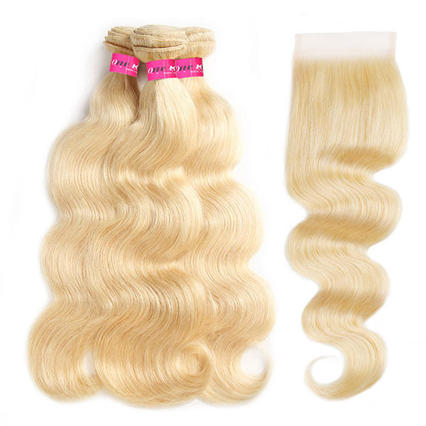 One More 613 Blonde Color Body Wave Hair 3 Bundles with 4*4 Lace Closure - OneMoreHair