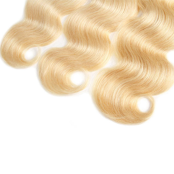 613 Blonde Color Body Wave Hair 3 Bundles Virgin Human Hair Weave