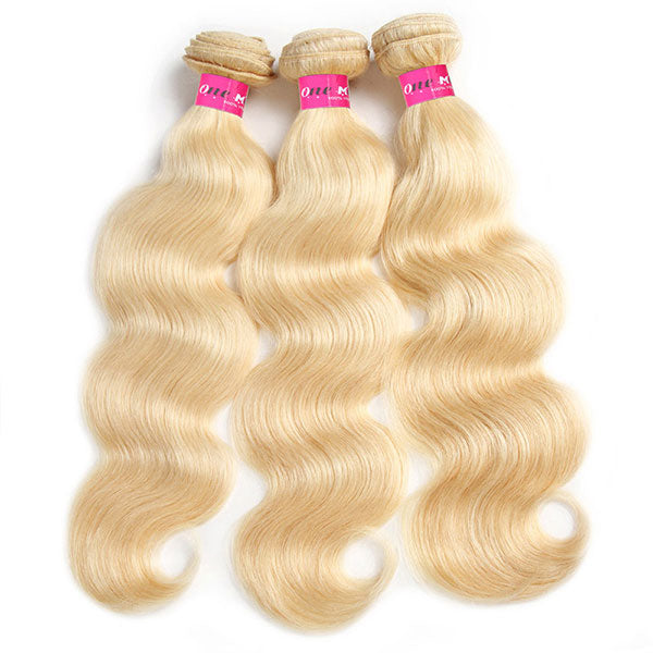 One More 613 Blonde Color Body Wave Hair 3 Bundles with 4*4 Lace Closure