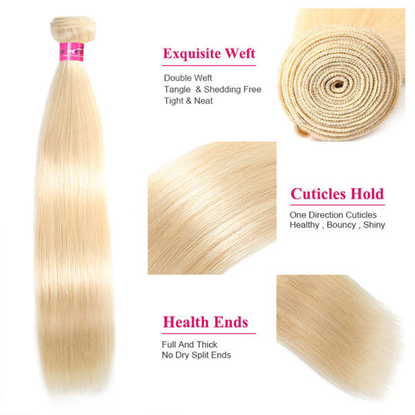 613 Blonde Color Straight Hair 3 Bundles Virgin Human Hair Weave
