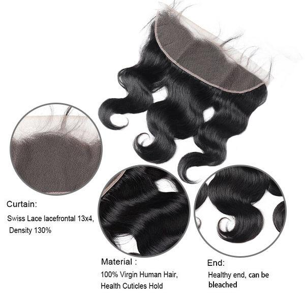 Virgin Brazilian Body Wave Hair 13*4 Lace Frontal Closure - OneMoreHair