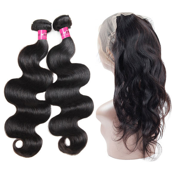 One More Brazilian Loose Wave Hair 360 Lace Frontal with 2 Bundles