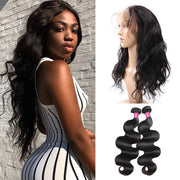 Brazilian Body Wave Hair 2 Bundles with 360 Lace Frontal Closure - OneMoreHair