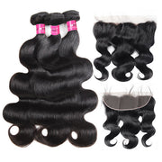 Virgin Peruvian Hair Body Wave 3 Bundles with 13*4 Lace Frontal Closure