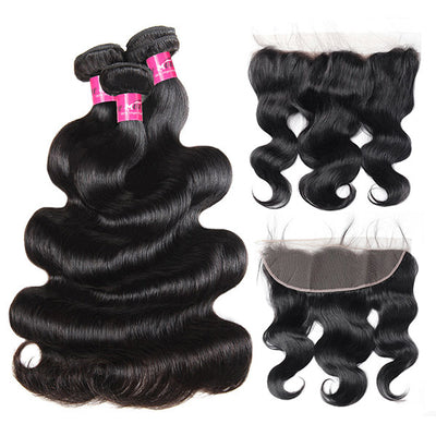 10A Virgin Brazilian Hair Body Wave 3 Bundles with 13*4 Lace Frontal Closure