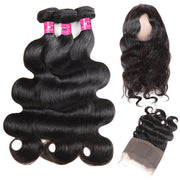 Virgin Indian Hair Body Wave Hair 360 Lace Frontal with 3 Bundles