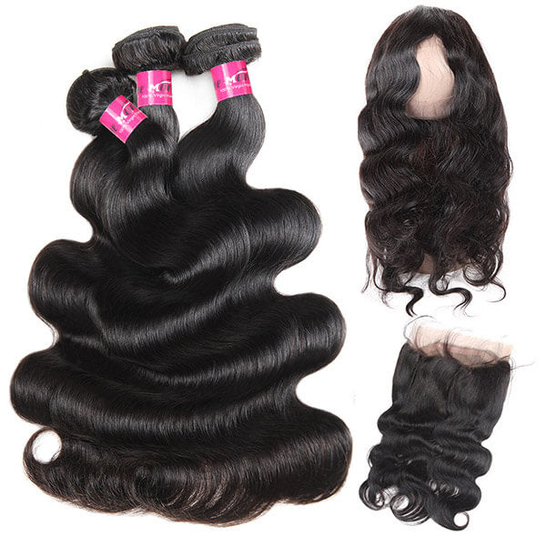 Brazilian Body Wave Hair 360 Lace Frontal with 3 Bundles One More Hair