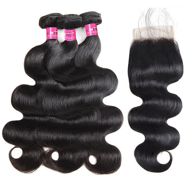 Peruvian Body Wave Hair 4 Bundles with 4*4 Lace Closure 10A One More Hair