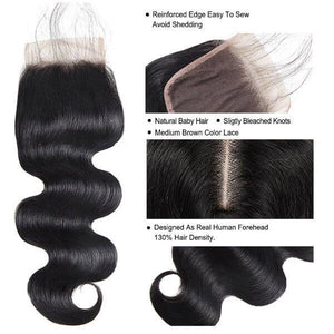 10A Grade Body Wave Hair 3 Bundles With 4*4 Lace Closure 100% Malaysian Remy Hair - OneMoreHair