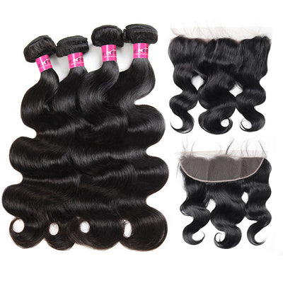 Peruvian Body Wave Hair 4 Bundles with 13*4 Lace Frontal Closure