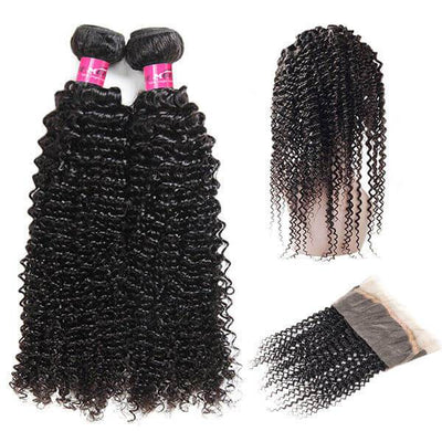 One More Curly Hair Weave 2 Bundles with 360 Lace Frontal Malaysian Hair - OneMoreHair