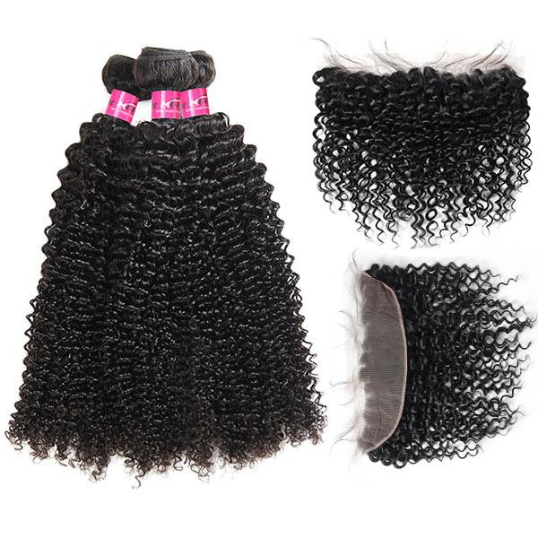 Virgin Brazilian Curly Hair 3 Bundles with 13*4 Lace Frontal Closure - OneMoreHair