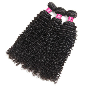 Brazilian Virgin Curly Hair 3 Bundles with 13*4 Lace Frontal Closure - OneMoreHair