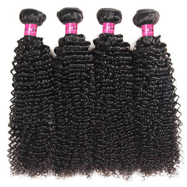 Virgin Malaysian Curly Human Hair 4 Bundles with 4*4 Lace Closure - OneMoreHair