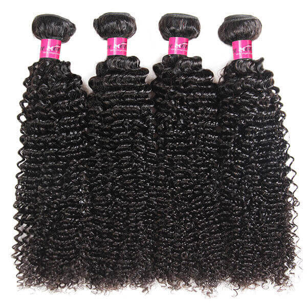 Brazilian Curly Hair Weave 4 Bundles with 4*4 Lace Closure - OneMoreHair