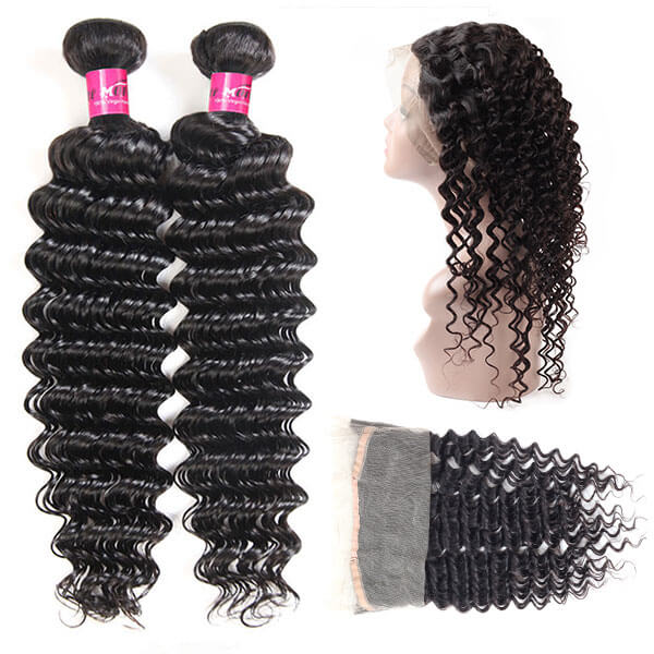 Virgin Indian Deep Wave Hair 360 Lace Frontal with 2 Bundles One More Hair