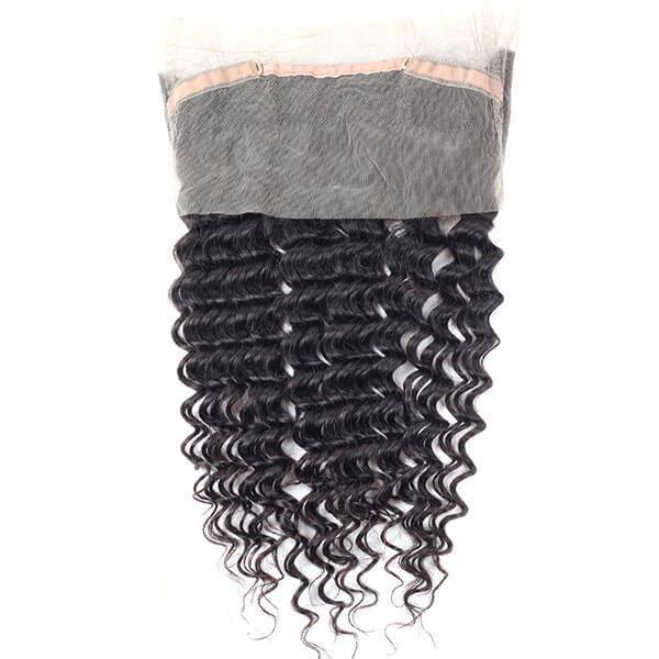 Peruvian Deep Wave Hair 3 Bundles with 360 Lace Frontal