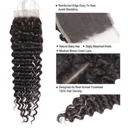 Virgin Brazilian Hair Deep Wave Hair 4*4 Lace Closure 1 Piece - OneMoreHair
