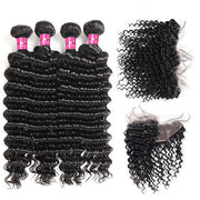 One More Brazilian Deep Wave Hair 4 Bundles With 13*4 Lace Frontal Closure