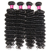 Peruvian Deep Wave Hair 4 Bundles with 13*4 Lace Frontal Closure Natural Color