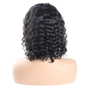 Deep Wave Short Bob Wigs 13*4 Lace Front Human Hair Wigs Pre Plucked Hairline - OneMoreHair