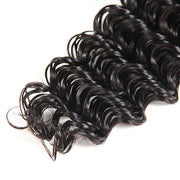 Virgin Peruvian Deep Wave Hair 4 Bundles with 4*4 Lace Closure