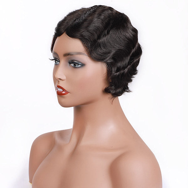 One More 100% Remy Human Hair Lace Front Wig Finger Wave Wig
