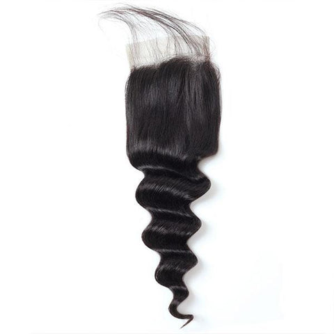 Loose Deep Wave Human Hair 4*4 Lace Closure 1 Piece 10A Brazilian Hair Swiss Lace - OneMoreHair