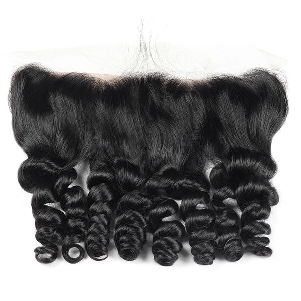 Virgin Peruvian Loose Wave Hair 3 Bundles with 13*4 Lace Frontal Closure